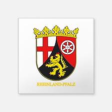 "Rheinland-Pfalz (gold).png Square Sticker 3"" x 3"""