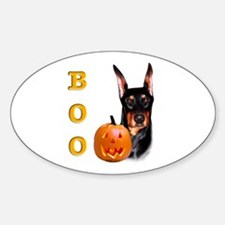 Halloween Doberman Boo Oval Decal