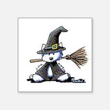 """Westie Witch Square Sticker 3"""" x 3"""""""