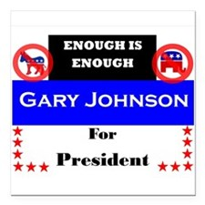"Gary Johnson for President Square Car Magnet 3"" x"
