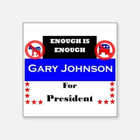 """Gary Johnson for President Square Sticker 3"""" x 3"""""""