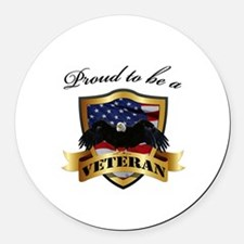 Proud to be a Veteran Round Car Magnet