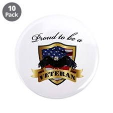 "Proud to be a Veteran 3.5"" Button (10 pack)"