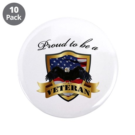 """Proud to be a Veteran 3.5"""" Button (10 pack)"""