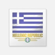 """Greece (Flag 10).png Square Sticker 3"""" x 3"""""""