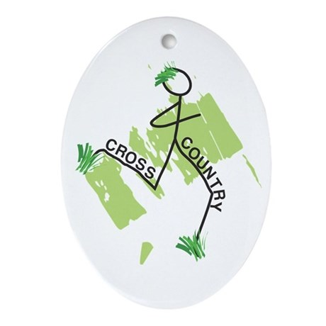 Cute Cross Country Runner Ornament (Oval)