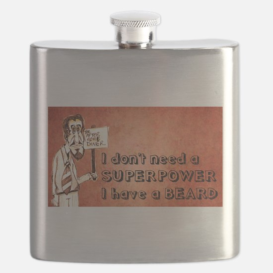 Superhero/beard/red Flask