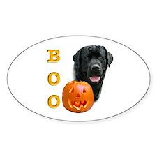Halloween Black Lab Boo Oval Decal
