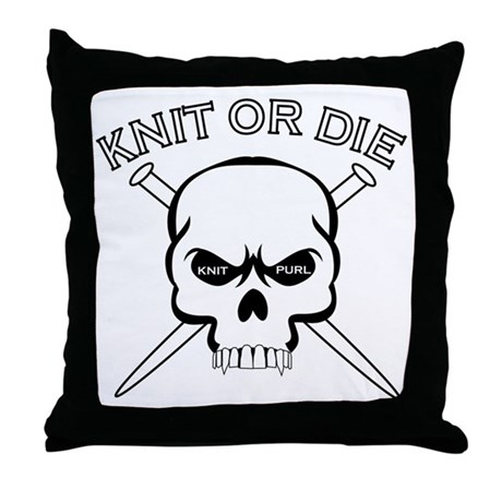Knit or Die Throw Pillow