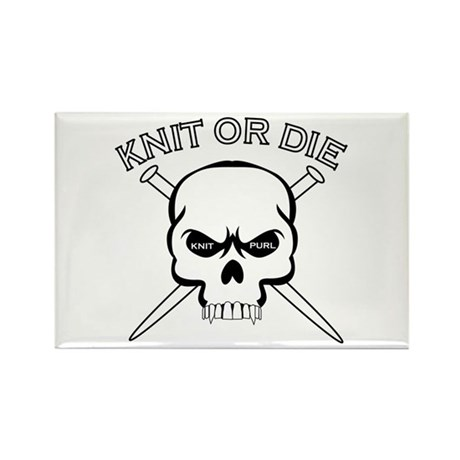 Knit or Die Rectangle Magnet (10 pack)