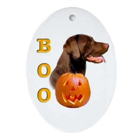 Halloween Chocolate Lab Boo Oval Ornament