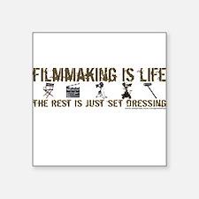 "3-t-shirt-filmmaking-black.png Square Sticker 3"" x"
