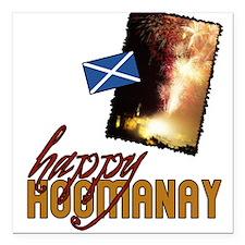 """hogmanay-fireworks-black.png Square Car Magnet 3"""""""