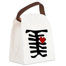 Valentine Skeleton with Heart Canvas Lunch Bag