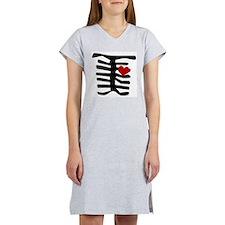 Valentine Skeleton with Heart Women's Nightshirt