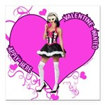 valentine-wanted-female-pink.png Square Car Magnet