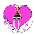 valentine-wanted-female-pink.png Round Car Magnet