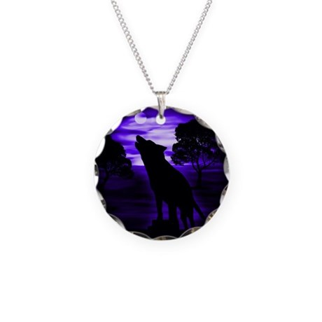 Wolf Howling copy.png Necklace Circle Charm