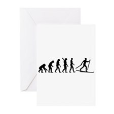 Evolution Cross country skiing Greeting Cards (Pk