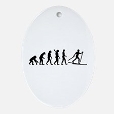 Evolution Cross country skiing Ornament (Oval)