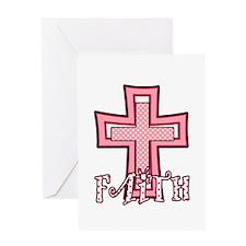 Cute Pink Polka Dot Faith Cross Greeting Card