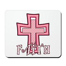 Cute Pink Polka Dot Faith Cross Mousepad
