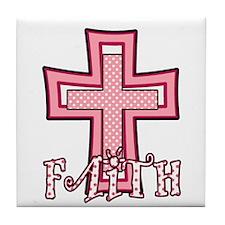 Cute Pink Polka Dot Faith Cross Tile Coaster