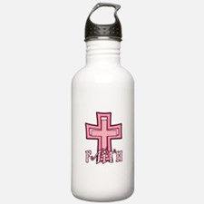 Cute Pink Polka Dot Faith Cross Water Bottle