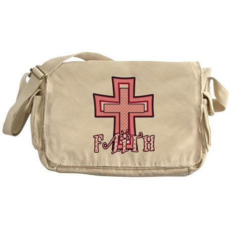 Cute Pink Polka Dot Faith Cross Messenger Bag