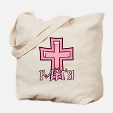 Cute Pink Polka Dot Faith Cross Tote Bag