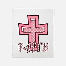 Cute Pink Polka Dot Faith Cross Throw Blanket