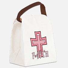 Cute Pink Polka Dot Faith Cross Canvas Lunch Bag