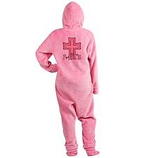 Cute Pink Polka Dot Faith Cross Footed Pajamas
