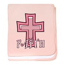 Cute Pink Polka Dot Faith Cross baby blanket