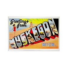 Muskegon Michigan Greetings Rectangle Magnet