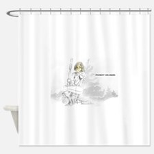 Point Blank White Logo Shower Curtain