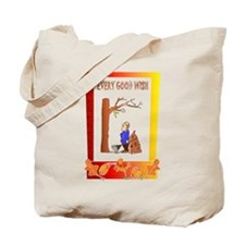 Clearing up the fallen leaves Tote Bag