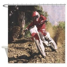 Motocross Rider Sprays Rocks Shower Curtain