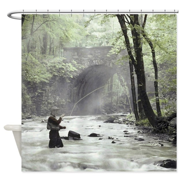 Fly Fisherman In Misty Stream Shower Curtain By Retroranger