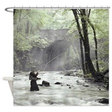 Fly Fisherman in Misty Stream Shower Curtain