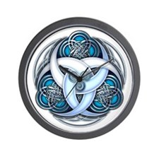 Celtic Triple Crescents - Blue Wall Clock