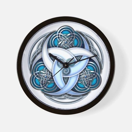Celtic Triple Crescents - Blue Wall Clock