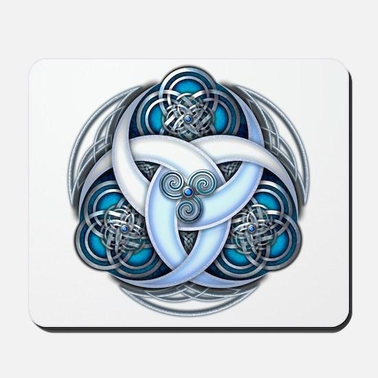 Celtic Triple Crescents - Blue Mousepad
