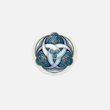 Celtic Triple Crescents - Blue Mini Button