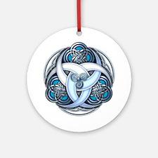 Celtic Triple Crescents - Blue Ornament (Round)