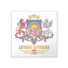 "Latvia COA (Flag 10)2.png Square Sticker 3"" x 3"""