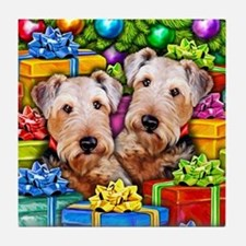 Airedale Terrier Christmas Tile Coaster