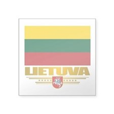 "Lithuania (Flag 10)2.png Square Sticker 3"" x 3"""