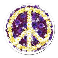Flowers of Peace Round Car Magnet