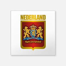 "Nederland Gold.png Square Sticker 3"" x 3"""